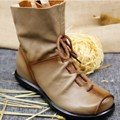 Fashion Retro Vintage Handmade Genuine Leather Women's Ankle Boots Solide Color Flexible Spring Autumn Shoes Plus Size WHZQ 081
