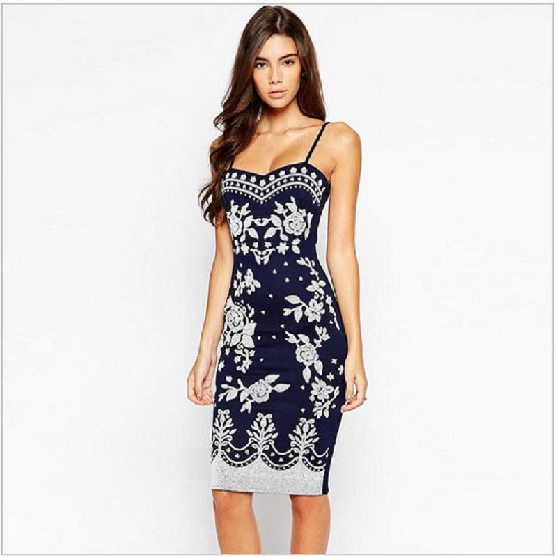 23714fd067b1 2015 Navy Blue Spaghetti Strap Summer Style Dress Women Bodycon Midi Party  Dresses Ladies Floral Print Casual Pencil Dress 22135-in Dresses from  Women s ...