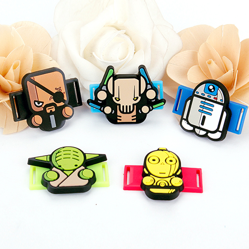 Creative Cartoon Star Wars PVC Shoe Shoelace Accessories Shoe Decoration Fit For Children Birthday Party Gifts 20pcs lot cartoon zootopia balloons spiderman star wars foil balloon stick birthday party supplies air ballon children party toy