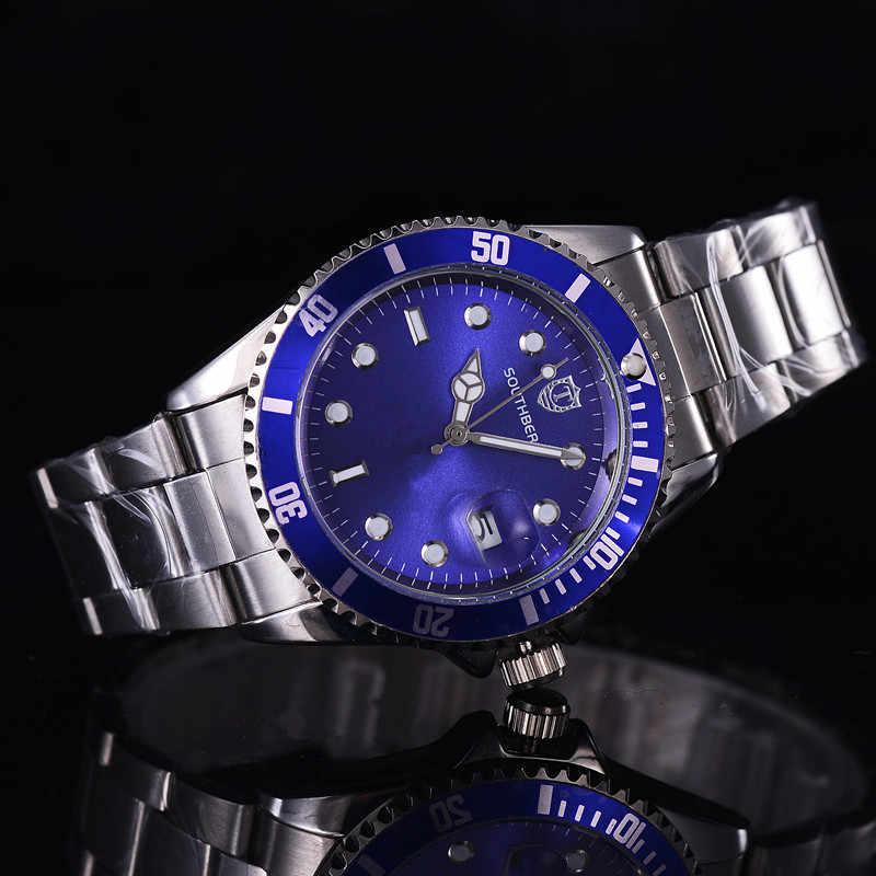 2017 2016 luksusowe rolę mody męskie zegarki kwarcowe stali nierdzewnej SOUTHBERG Top marka zielony zegarek na rękę dla mężczyzn relogio masculino