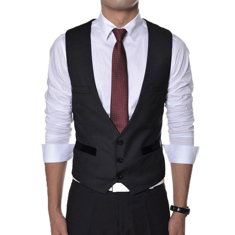 New Men's Formal Vest Black Grey Slim Fit Double Breasted Wedding Vest Men Suit Vest Custom Made