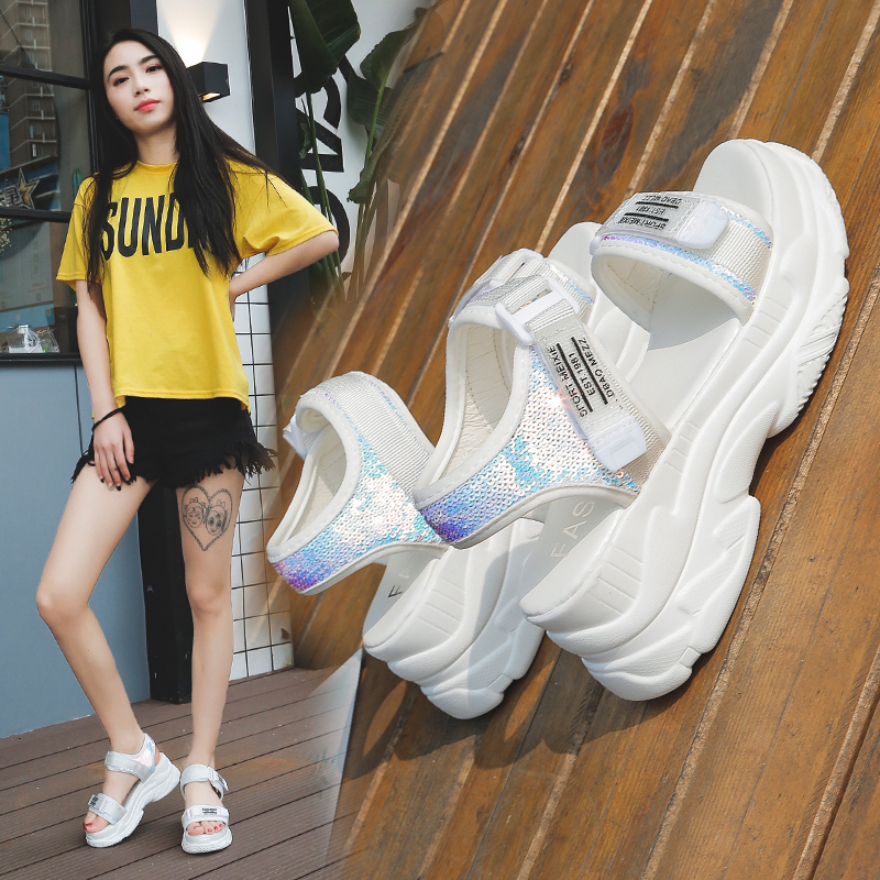 HTB1I7zzdWWs3KVjSZFxq6yWUXXac - Fujin Summer Women Sandals Buckle Design Black White Platform Sandals Comfortable Women Thick Sole Beach Shoes