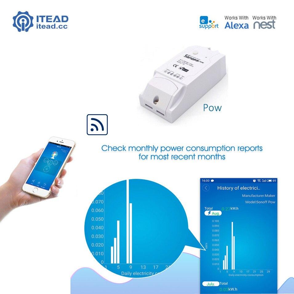 Itead Sonoff Pow WiFi Inalámbrico Interruptor Con Medición del Consumo De Energí