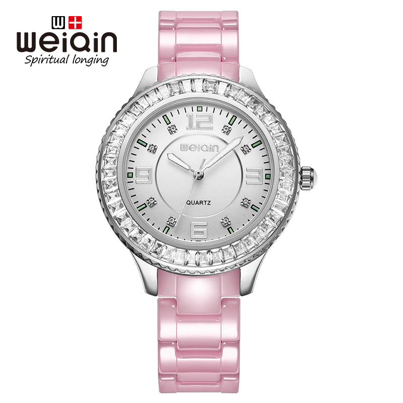WEIQIN Fashion Rhinestone Watches Women Luxury Pink Ceramic Bracelet Quartz Women Watch Ladies Dress Wristwatch Montre Femme weiqin new 100% ceramic watches women clock dress wristwatch lady quartz watch waterproof diamond gold watches luxury brand