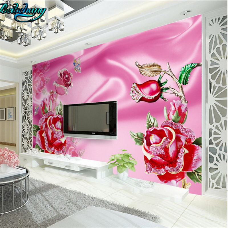 beibehang New luxury European jewelry lace roses 3D TV backdrop ...