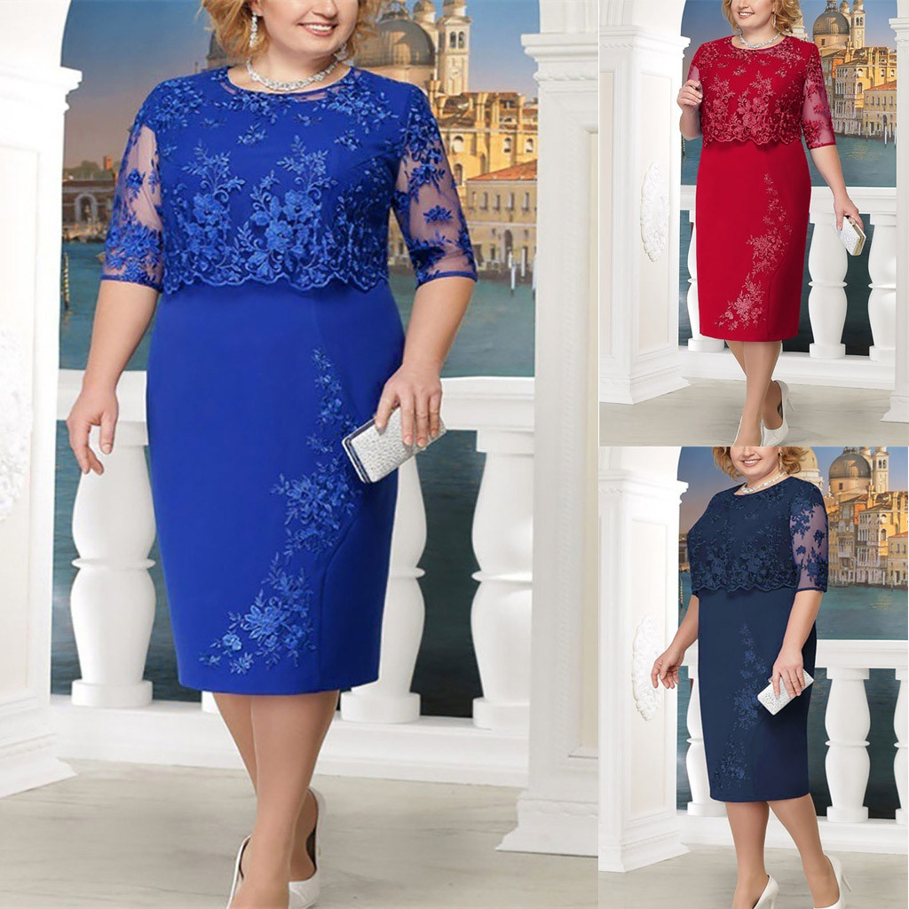 <font><b>Women</b></font> <font><b>Fashion</b></font> dress <font><b>autumn</b></font> <font><b>2018</b></font> <font><b>bodycon</b></font> Lace <font><b>Elegant</b></font> Mother of Bride Dress Knee Length Plus Size Dress <font><b>sexy</b></font> summer <font><b>elegant</b></font> image