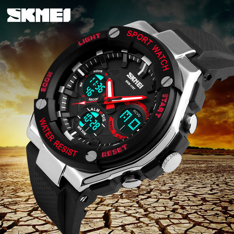 SKMEI Watch Men Sport Digital Watches Dual Time Display Outdoor Waterproof Clock Alarm Casual Military Watch Relogio 1187