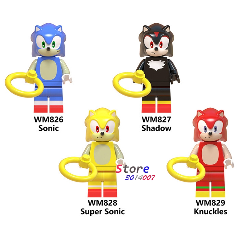 Single Building Blocks Super Sonic Anime Sonic Shadow Knuckles  Girl  Snow World Series Action Toy For Children