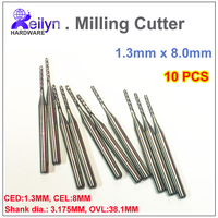 10pcs 1 3x8 0x3 175mm PCB Milling Cutter Carbide End Mill CNC Cutter Mini Drill Bit