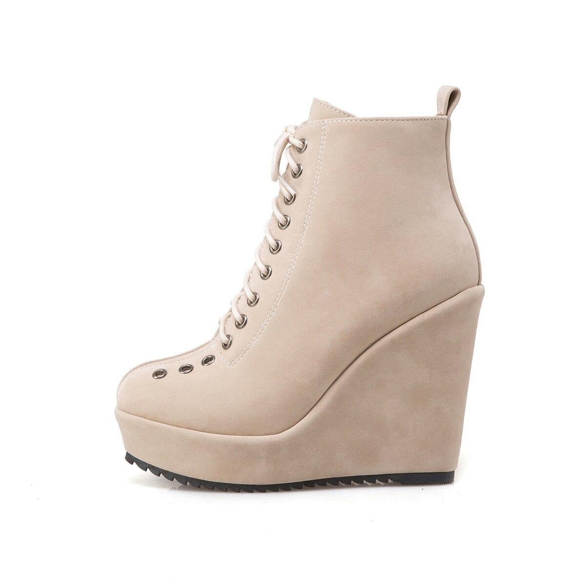 53116ea8687d8 Γυναικεία παπούτσια BONJOMARISA Women's Lace Up Vintage High Heel Wedge  Shoes Woman Round Toe Platform Ankle Boots Big Size 34-43