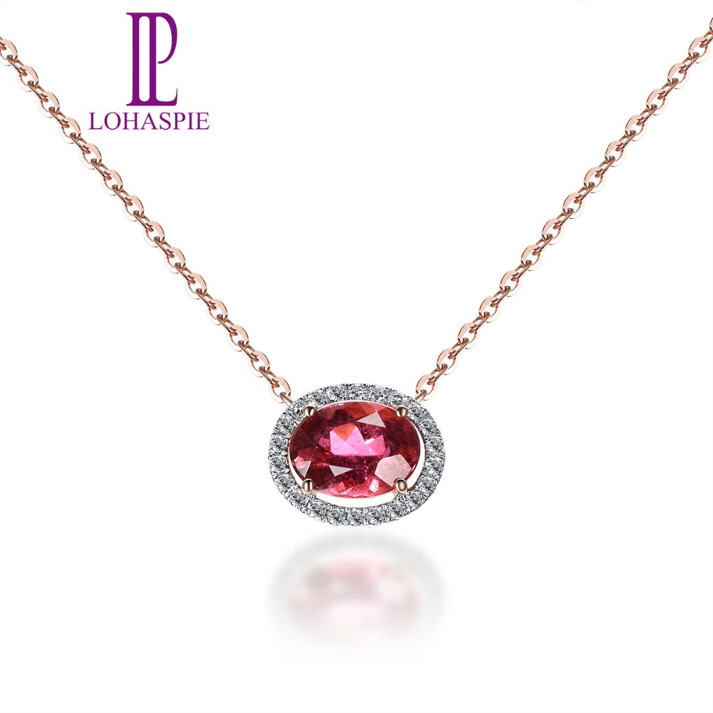 Lohaspie Solid 18K Rose Gold 1.20ct Natural Gemstone Rubellite & Diamonds Necklace For Women Fine Diamond Jewelry 18 Inches