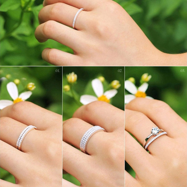 Online Shop COLORFISH Simple Match Wedding Band Rings For Women ...
