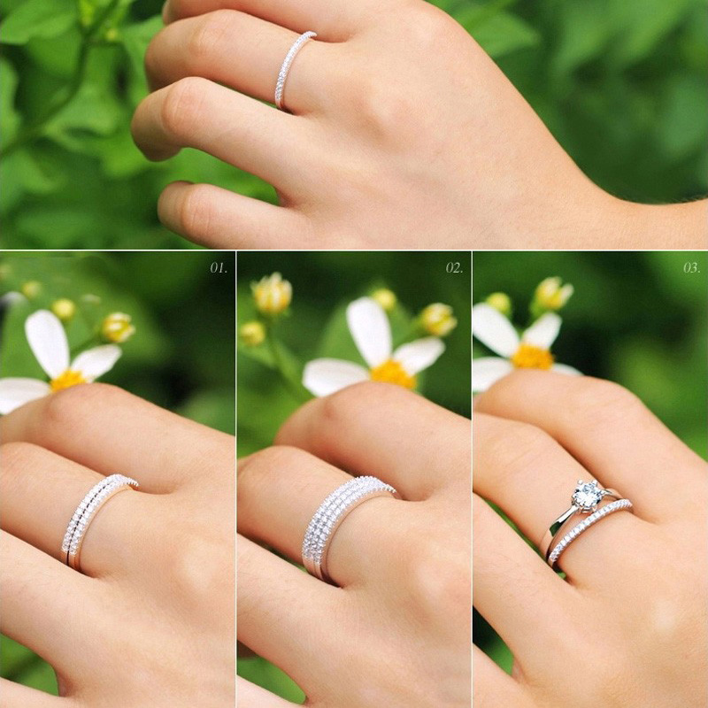 Colorfish Thin Match Wedding Band Rings For Women Micro Pave Aaa Cubic Zirconia Jewelry Simple 925 Sterling Silver Eternity Ring In From