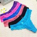 5 unids/lote tangas bragas de encaje tanga tangas tangas sexy tanga mujeres underwear solid high qualitytransparent m l xl