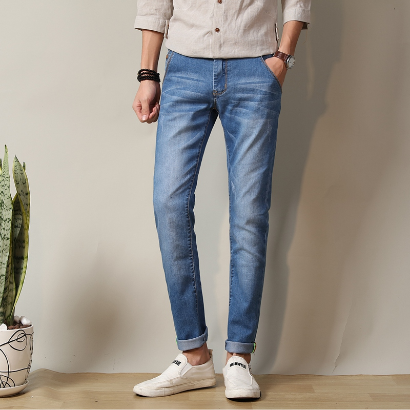New Arrivals 2017 Brand Men Classic Black Denim Jeans Stretch Slim Fit Denim Plus Size Full