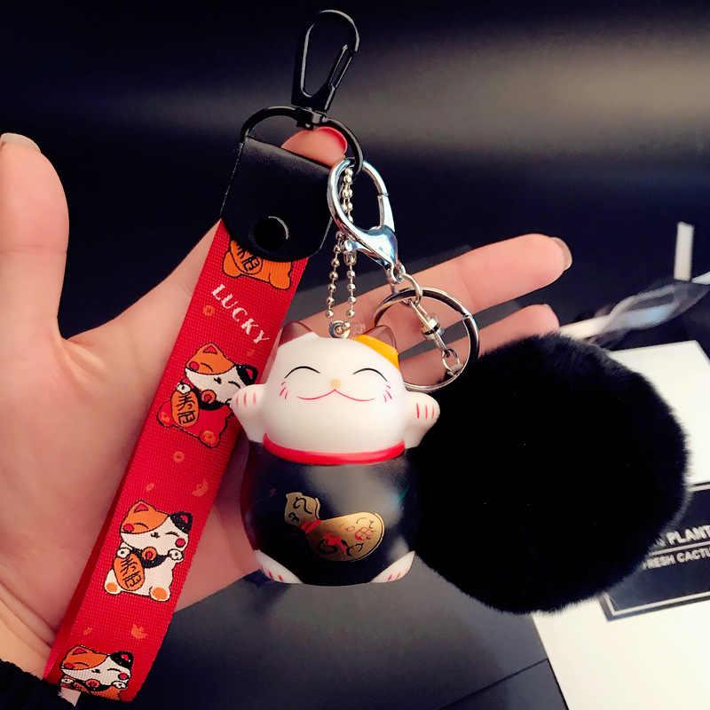 Fita Pompom Gato afortunado Chaveiro Chaveiro De Pele de Coelho Pompom Fofo Titular Anel chave Anel Chave Do Carro Chaveiro Auto Saco Encantos presente
