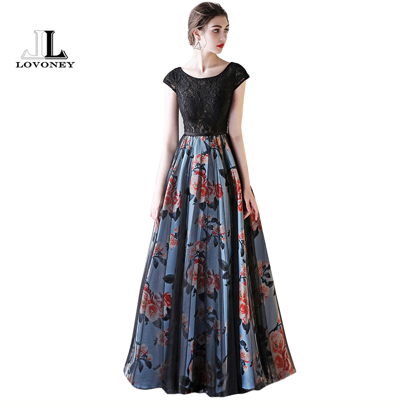 LOVONEY Cap Sleeve Elegant   Evening     Dresses   Long Flower Pattern Short Sleeve Lace   Dress     Evening   Gowns Formal Party   Dresses   M246