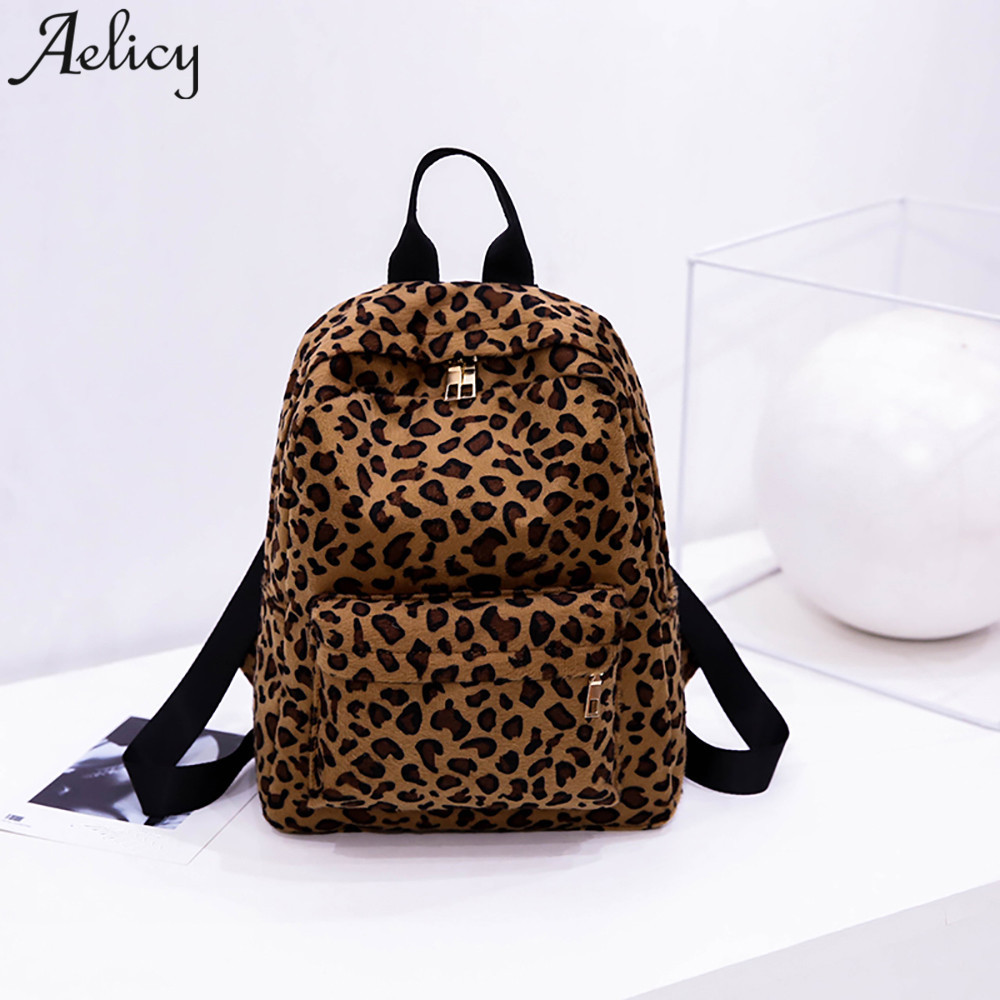 Aelicy women Backpack Leopard Plush girls school bag Personalized Travel  Ladies backpack mochila feminina dropshipping hot 926954006c967