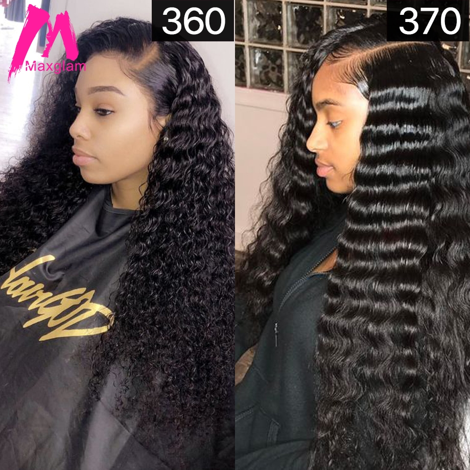 Maxglam 13x6 Lace Front Wig 360 Lace Frontal Human Hair Wigs With Pre Plucked Baby Hair Brazilian Deep Wave Curly 370 Wig(China)