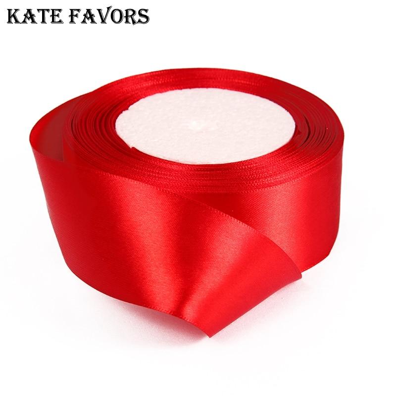 (25 ярдов/рулон) 40 мм красный одно лицо атласная лента лямки украшения ленты подарок на Рождество ленты для шитья
