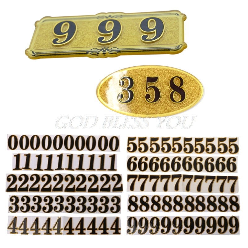 10PC DIY Door Number Room Plate Address Office Home House Number 0-9 Hotel Sign