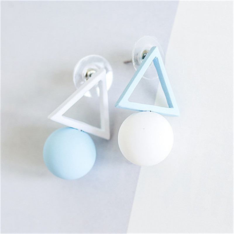 Ajojewel Circular Ball Hollow Triangle Simple Earrings Korean Asymmetric Earrings Female Jewelry Wholesale