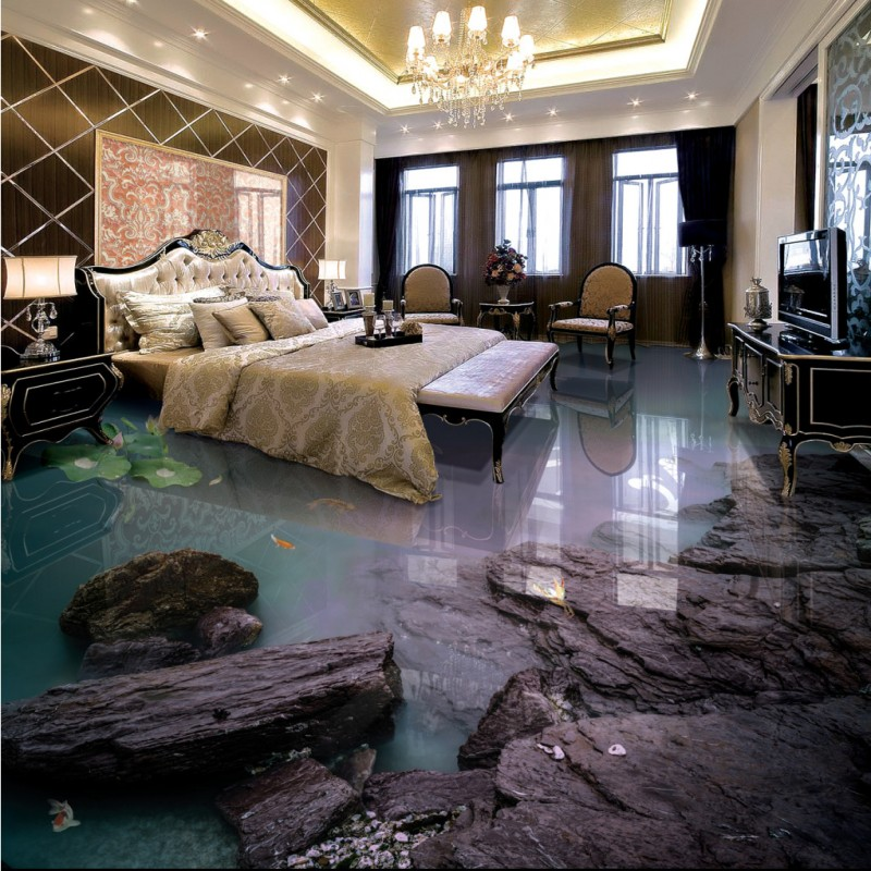 Free Shipping Aesthetic Seaside Beach Living Room Bathroom 3D Floor thickened kitchen restaurant bedroom lobby flooring mural free shipping waterfall hawthorn carp 3d outdoor flooring non slip shopping mall living room bathroom lobby flooring mural