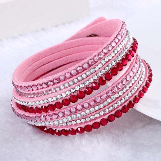 Leather Bracelet Rhinestone Crystal Multiple Colors