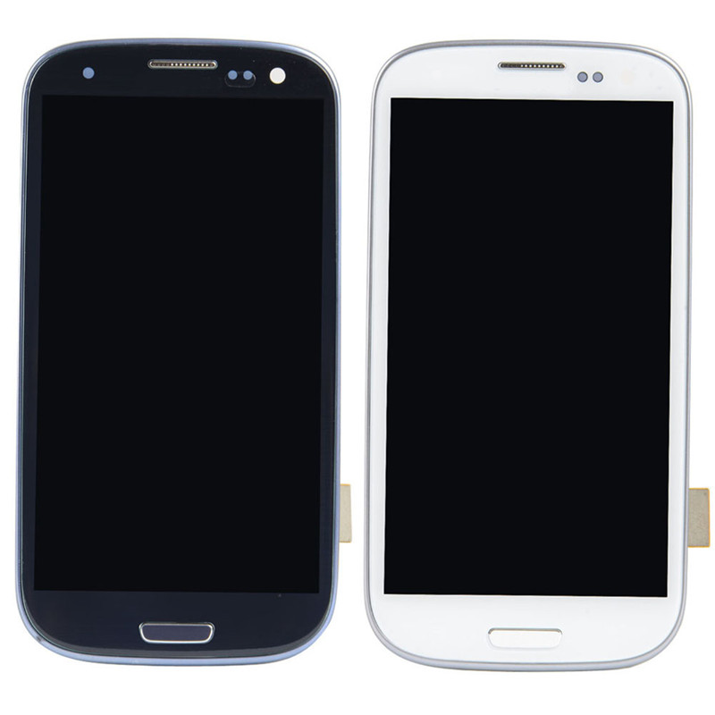 New White Blue Lcd Display Touch Screen Digitizer Assembly For Samsung Galaxy S3 Iii I9300 With