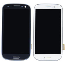 New White Blue Lcd Display Touch Screen Digitizer Assembly For Samsung Galaxy S3 Iii I9300 With Frame VA154 T45