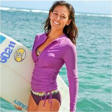 SBART UV Protection Long Sleeve Swimsuit Dress Wetsuit Women Surf Women's Rash Guards Front Zip Rash Tee For Diving Surfing(China)