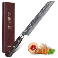 2019 HEZHEN 8 inch Bread Knife Damascus Steel Knife Kitchen Serrated Knives New Design Cutter For Cutting Bread Cheese Cake