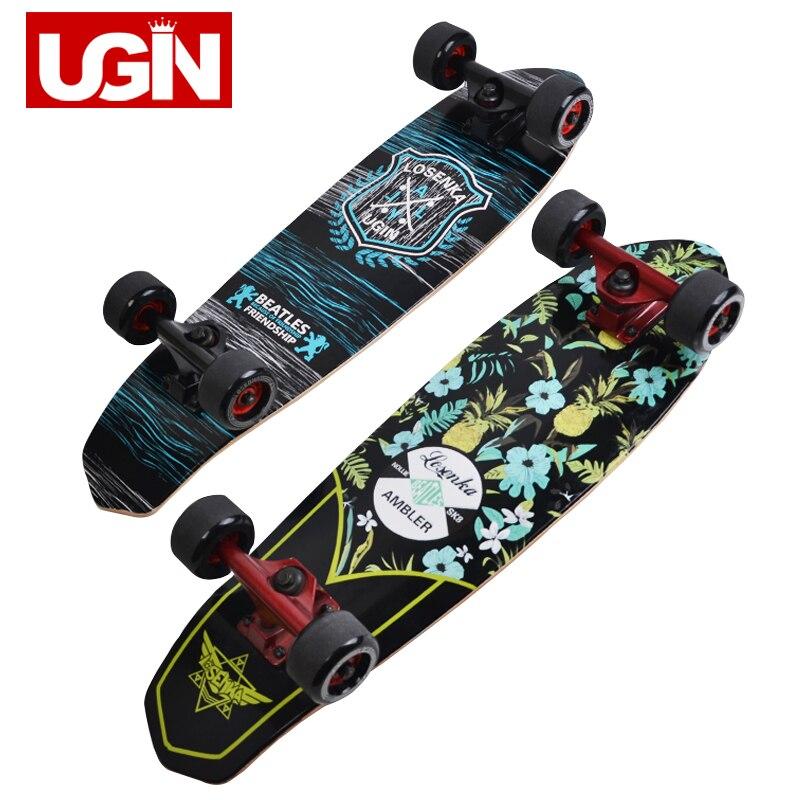 UGIN Freestyle Impression Rue 28 pouces Longue planche de skate Complet Rétro Graffiti Style Planche À Roulettes Cruiser Long Planches À Roulettes D'érable