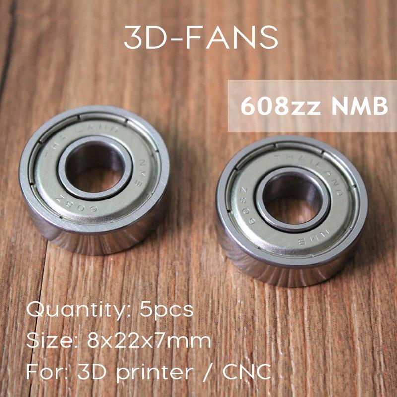 5 Unids NMB Importación Rodamiento 608zz 8*22*7 Rodamientos para impresora 3D De