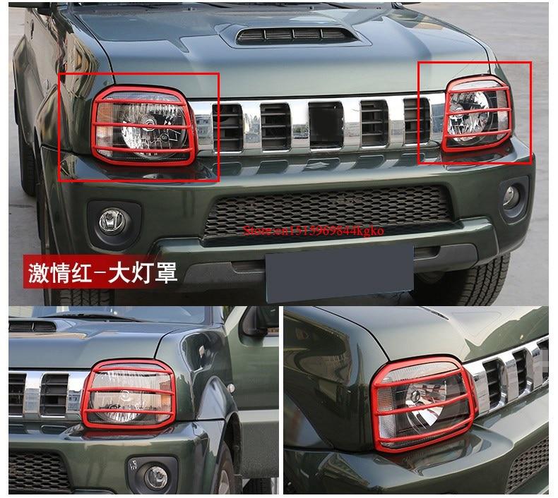 For Suzuki Jimny Black/Red Metal Car Front Head Light Frame Trim Cover 2007-2015 2pcs 2pcs set front window deflector vent visor rain guards shield cover trim for jimny 2007 2015 car styling auto accessories