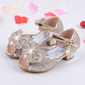 Sweet Princess Sandals For Girls Crystal High Heel Banquet Wedding Shoes Kids Girls Sandale Fille Children Leather Shoes TX190