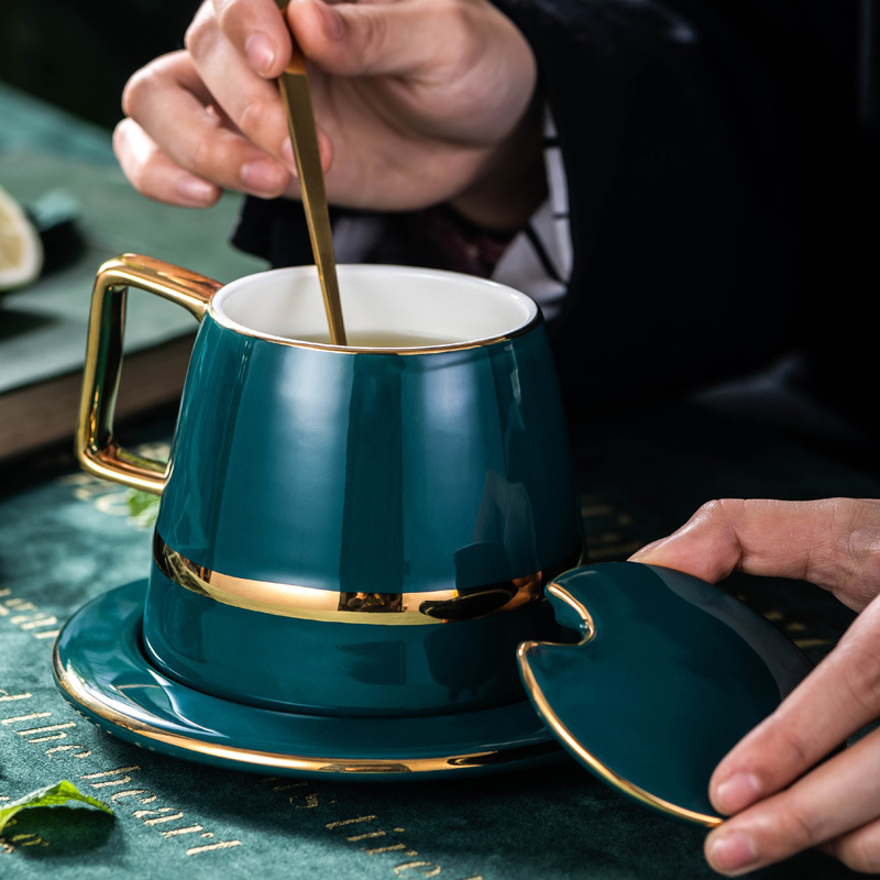 Luxurious nordic style tea set golden ceramic coffee cup set saucer with spoon gift box for household office afternoon tea