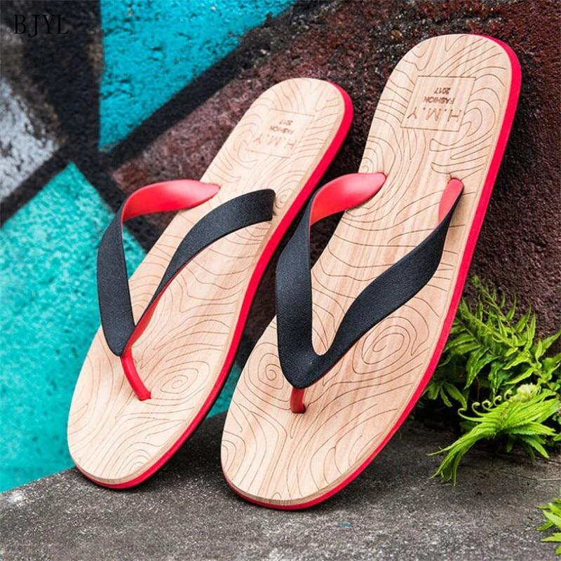 BJYL 2019 Designer Flip Flops Beach Shoes Men Summer Slippers Anti-Slip Flat Casual Man Indoor B165