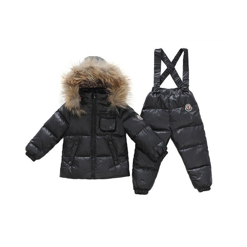 2 Pieces Baby Boys Girl Winter Down Clothing Sets Kids Hooded Outerwear Coat + Bib Pants Snowsuit Solid Snow Wear Clothing V30