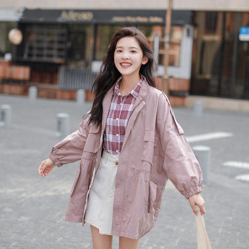 Oversized Women   Trench   Coat Spring 2018 New Casual Fashion Loose Solid Zipper Pocket Medium Length Coat Windbreaker Female Q458