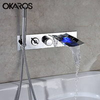 OKAROS Bathroom Bathtub LED Faucet Waterfall Stainless Steel Chrome Finished Water Taps Mixer with One Hand Head Shower Head