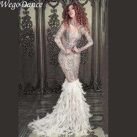 Новые модные роскошные сверкающие кристаллы лайкра ткани с длинными перьями платье День рождения, празднование камни Свадебный костюм пла