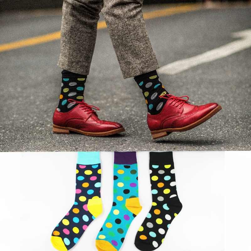01140ee135d6f Detail Feedback Questions about Fashion Socks Men Cotton Crew Polka Dot  Print Skate Dress Brand Happy Harajuku Novelty Calcetine Sox Business Big  Size ...