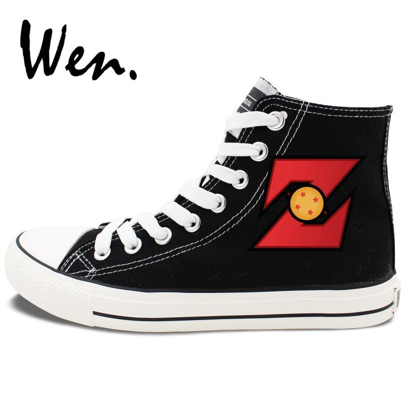 c6fc17ddf Wen Son Goku Dragon Ball Z Sapatos de Skate Preto Projeto Anime High Top  Tênis de Lona Das Mulheres Dos Homens Rendas Até Plana plimsolls em Sapatos  de ...