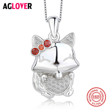 цена 925 Silver Women AAA Crystal Jewelry Clavicle Chain Necklace Austrian Crystal Cute Cat Pendant Box Chain Fashion Charm Necklace в интернет-магазинах