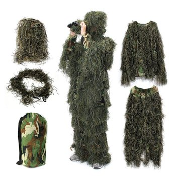 Woodland Ghillie Suit Camo Hunting Clothes Army Uniform Multicam Camuflagem Jacket Pants Hat Gun Rope Camouflage Suits Camuflaje