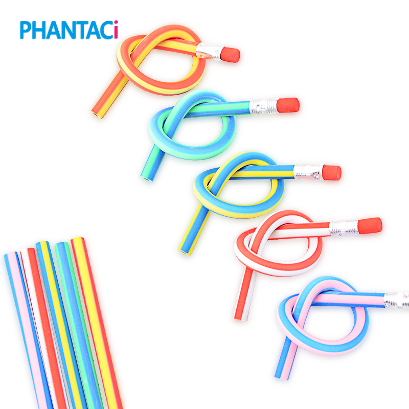 5 Pcs/Lot Colorful Magic Bendy Flexible Soft Pencil With Eraser Stationery Student Colored Pencils School Office Supplies the student stationery wholesale prize korean cartoon eraser skateboard 35 pcs set 5 5 2 0 5cm multicolor