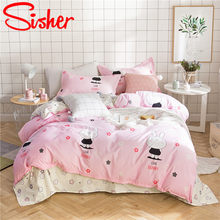 Sisher Nordic Simple Style Bedding Set Kids Cute Bed Linen Cotton/Polyester Duvet Cover Funda Nordica Infantil(China)