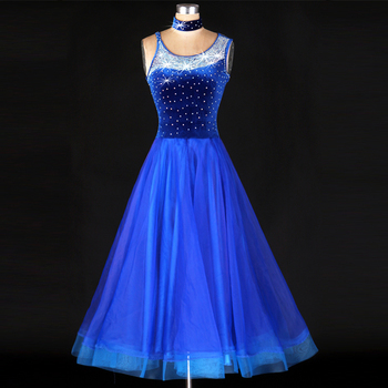 Ballroom Dance Dress Women Blue Luxury Rhinestone Jazz/Tango/Lulu Dance Dress Lady Viennese Waltz Dress Mermaid Costume Skirt