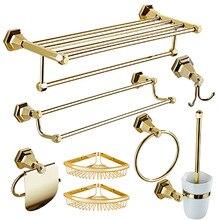 New Bathroom Accessories Accessible Luxury Copper Towel Rack set Golden Toilet bathroom hardware accessories